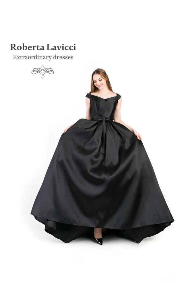 Black satin prom dress
